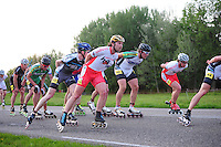 INLINE-SKATEN: STEENWIJK: Gagelsweg (start/finish), Schansweg, Meppelerweg, KPN Inline Cup, Klim van Steenwijk, 02-05-2012, Victor Wilking (#138), Ruben Wieberdink (#86), Gerard Haasjes(#80), Roy Boeve (#25), Gary Hekman (#92), Niels Mesu (#77), ©foto Martin de Jong