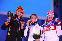 OLYMPICS: SOCHI: Medal Plaza, 12-02-2014, medaille uitreiking, 500m Ladies, Margot Boer (NED), Sang-Hwa Lee (KOR), Olga Fatkulina (RUS), ©foto Martin de Jong