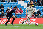 Real Madrid's Marco Asensio and SD Eibar's Gonzalo Escalante during La Liga match between Real Madrid and SD Eibar at Santiago Bernabeu Stadium in Madrid, Spain.April 06, 2019. (ALTERPHOTOS/A. Perez Meca)