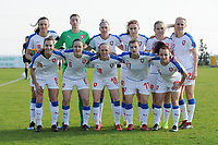 20190227 - LARNACA , CYPRUS : Lucie Vonkova (9) , Alexandra Vanickova (23) , Petra Bertholdova (4) , Klara Cahynova (12) , Irena Martinkova (8) , Pavlina Nepokojova (20) , Tereza Szewieczkova (17) , Eva Bartonova (6) , Kamila Dubcova (11) , Jitka Chlastakova (18) , Petra Vystejnova (14)  - Czech Republic team pictured during a women's soccer game between Korea DPR and Czech Republic , on Wednesday 27 February 2019 at the GSZ Stadium in Larnaca , Cyprus . This is the first game in group A for both teams during the Cyprus Womens Cup 2019 , a prestigious women soccer tournament as a preparation on the Uefa Women's Euro 2021 qualification duels and the Fifa World Cup France 2019. PHOTO SPORTPIX.BE | STIJN AUDOOREN