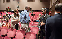 """Occidental College professor Christopher Hawthorne hosts """"A Debate over the new LACMA"""", a discussion featuring Los Angeles County Museum of Art (LACMA) director Michael Govan, Los Angeles Times art and architecture writer Carolina Miranda, architects Sharon Johnston and Mark Lee, architecture critic Greg Goldin and architect, author and advocate for twentieth-century architectural preservation Alan Hess. The panel discussion talked about the controversial plan by Swiss architect Peter Zumthor to remake the museum campus. March 25, 2015 in Thorne Hall. (Photo by Marc Campos, Occidental College Photographer)"""