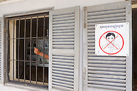 Phnom Penh, Cambodia. Tuol Sleng Genocide Museum at the former Security Prison 21 (S-21) of the Khmer Rouge. Silence, please!