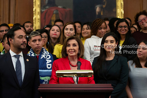 Speaker of the United States House of Representatives Nancy Pelosi (Democrat of California), joined by other Democratic lawmakers, speaks during a press conference on the Deferred Action for Childhood Arrivals program on Capitol Hill in Washington D.C., U.S. on Tuesday, November 12, 2019.  The Supreme Court is currently hearing a case that will determine the legality and future of the DACA program.  <br /> <br /> Credit: Stefani Reynolds / CNP