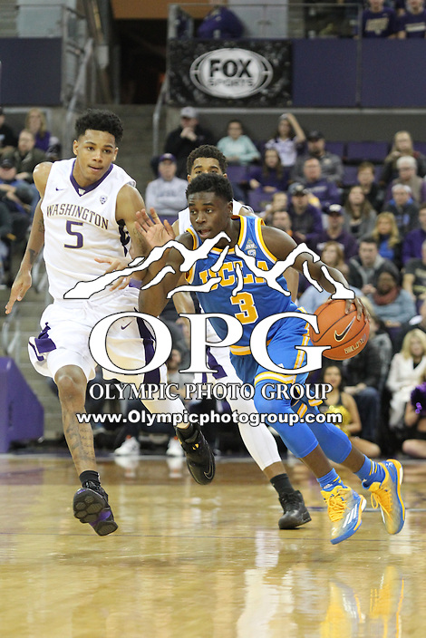 JAN 1, 2016:  UCLA's #3 Aaron Holiday brings the ball down court against Washington.  Washington defeated #25 ranked UCLA 96-93 in double overtime at Alaska Airlines Arena in Seattle, WA.