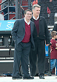 Washington Redskins owner Daniel M. Snyder, left, and Bruce Allen, Washington Redskins president and general manager, watch the pre-game warm-ups prior to the game against the Dallas Cowboys at FedEx Field in Landover, Maryland on Sunday, December 28, 2014.  <br /> Credit: Ron Sachs / CNP