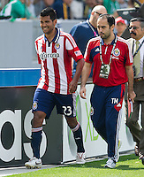 CARSON, CA - March 17, 2013: Chivas forward Joaquin Velazquez (23) leaves the pitch after receiving his second yellow card of the LA Galaxy vs Chivas USA game at the Home Depot Center in Carson, California. Final score LA Galaxy 1, Chivas USA 1.