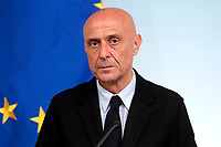 Minister of Internal Affairs Marco Minniti<br /> Roma 26/01/2018. Conferenza stampa sul rinnovo dei contratti per il comparto sicurezza e difesa.<br /> Rome January 26th 2018. Press conference on after the renewal of security and defense contracts.<br /> Foto Samantha Zucchi Insidefoto