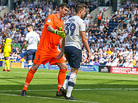 Burton Albion's Stephen Bywater directs Preston North End's Billy Bodin from the pitch after he was shown the red card<br /> <br /> Photographer Alex Dodd/CameraSport<br /> <br /> The EFL Sky Bet Championship - Preston North End v Burton Albion - Sunday 6th May 2018 - Deepdale Stadium - Preston<br /> <br /> World Copyright &copy; 2018 CameraSport. All rights reserved. 43 Linden Ave. Countesthorpe. Leicester. England. LE8 5PG - Tel: +44 (0) 116 277 4147 - admin@camerasport.com - www.camerasport.com