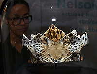 Ceremonial leopard-skin headdress award to Nelson Mandela by King Xolilzwe Sigcawu of the Xhosa people, at Nelson Mandela The Official Exhibition celebrating the life and legacy of Nelson Mandela, the anti-apartheid revolutionary and former President of South Africa, showcasing personal belongings and objects.  Nelson Mandela The Official Exhibition press view, London, UK - 7 February 2019.<br /> CAP/JOR<br /> &copy;JOR/Capital Pictures