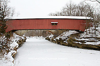 63904-03312 Narrows Covered Bridge in winter at Turkey Run State Park,  IN