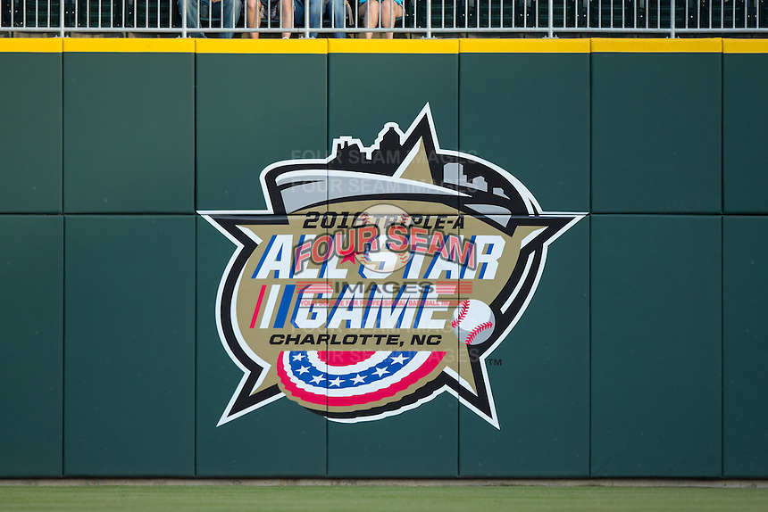 A sign on the right field wall advertises the fact that the Charlotte Knights will host the 2016 Triple-A All-Star game at BB&T BallPark on April 27, 2015 in Charlotte, North Carolina.  (Brian Westerholt/Four Seam Images)