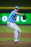 Myrtle Beach Pelicans relief pitcher Jordan Minch (32) in action against the Winston-Salem Dash at BB&T Ballpark on April 19, 2016 in Winston-Salem, North Carolina.  The Dash defeated the Pelicans 6-5.  (Brian Westerholt/Four Seam Images)