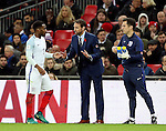 Gareth Southgate coach of England talks to Danny Rose of England during the FIFA World Cup Qualifying Group F match at Wembley Stadium, London. Picture date: November 11th, 2016. Pic David Klein/Sportimage