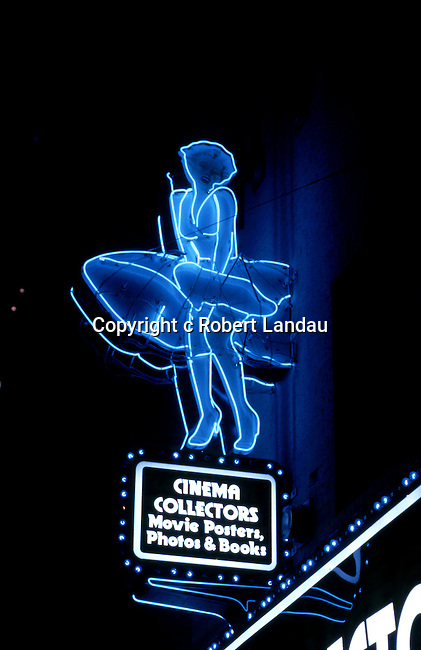 Neon sign depicting Marilyn Monroe from the Seven Year Itch film over Cinema Collectors shop in Hollywood, CA