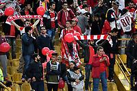 BOGOTA - COLOMBIA, 06-05-2018: Hinchas de Independiente Santa Fe, animan a su equipo, durante partido de la fecha 19 entre Independiente Santa Fe y Millonarios, por la Liga Aguila I 2018, en el estadio Nemesio Camacho El Campin de la ciudad de Bogota. / Fans Independiente Santa Fe, cheer for their team during a match of the 19th date between Independiente Santa Fe and Millonarios, for the Liga Aguila I 2018 at the Nemesio Camacho El Campin Stadium in Bogota city, Photo: VizzorImage / Luis Ramírez / Staff.
