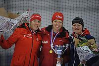 SCHAATSEN: GRONINGEN: Sportcentrum Kardinge, 03-02-2013, Seizoen 2012-2013, Gruno Bokaal, eindpodium Dames, Jorien Voorhuis, Yvonne Nauta, Imke Vormeer, ©foto Martin de Jong