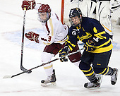 Barry Almeida (BC - 9), Jordan Heywood (Merrimack - 4) - The visiting Merrimack College Warriors tied the Boston College Eagles at 2 on Sunday, January 8, 2011, at Kelley Rink/Conte Forum in Chestnut Hill, Massachusetts.