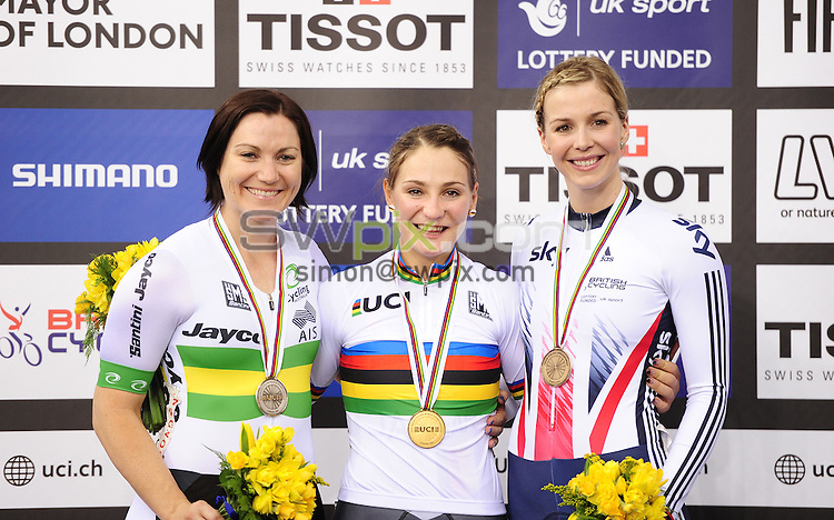 Pictures by SWpix.com - 03/03/2016 - Cycling - 2016 UCI Track Cycling World Championships, Day 2 - Lee Valley VeloPark, London, England - Women's Keirin Podium - MEARES Anna - VOGEL Kristina - JAMES Rebecca