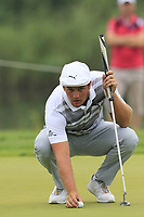 Bryson DeChambeau (USA) on the 12th green during Saturday's Round 3 of the Porsche European Open 2018 held at Green Eagle Golf Courses, Hamburg Germany. 28th July 2018.<br /> Picture: Eoin Clarke | Golffile<br /> <br /> <br /> All photos usage must carry mandatory copyright credit (&copy; Golffile | Eoin Clarke)