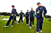 Cricket - ODI Summer Tri-Series - Scotland V Ireland V Sri Lanka at Grange CC - Edinburgh - heavy overnight rain and constant drizzle has delayed the start of the first match of the series between Ireland and Sri Lanka - Irish players take a look at the ground - Picture by Donald MacLeod - 11.07.11 - 07702 319 738 - www.donald-macleod.com