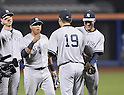 (R-L) Derek Jeter, Masahiro Tanaka, Yangervis Solarte (Yankees),<br /> MAY 14, 2014 - MLB :<br /> Pitcher Masahiro Tanaka of the New York Yankees celebrates his sixth win with his first shutout in the MLB with his teammates Derek Jeter and Yangervis Solarte after the Major League Baseball game against the New York Mets at Citi Field in Flushing, New York, United States. (Photo by AFLO)