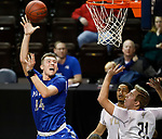 SIOUX FALLS, SD - MARCH 8:  xxxxxxxxx #34 from Mayville State shoots over xxxxxxxxxxxxxxxxxx 21 from the College of Idaho at the 2018 NAIA DII Men's Basketball Championship at the Sanford Pentagon in Sioux Falls. (Photo by Dick Carlson/Inertia)