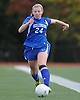Kellenberg No. 24 Maureen Pearson moves the ball downfield during the NSCHSAA varsity girls' soccer Class AA championship against St. Anthony's at St. John the Baptist High School on Thursday, October 29, 2015. St. Anthony's won by a score of 3-0.<br /> <br /> James Escher