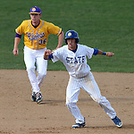 BROOKINGS, SD - MAY 9: Zach Coppola #19 for South Dakota State takes the lead off second in front of Jameson Henning #36 from Western Illinois Friday afternoon in Brookings. (Photo by Dave Eggen/Inertia)