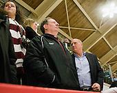 Huxley and Biega's fathers - The Harvard University Crimson defeated the St. Lawrence University Saints 4-3 on senior night Saturday, February 26, 2011, at Bright Hockey Center in Cambridge, Massachusetts.