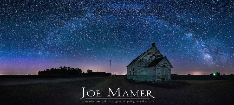 The milky Way Galaxy above an old Finnish church in southwest Minnesota.