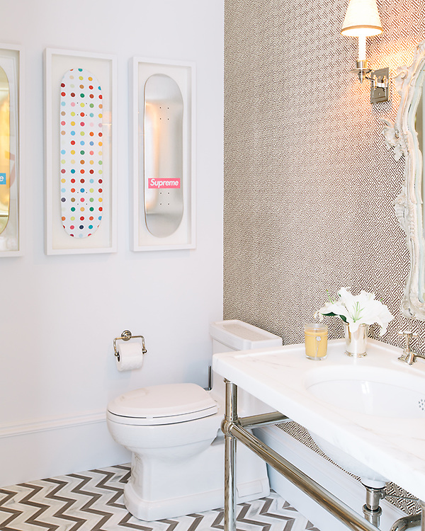 This custom bathroom floor features Raj, a handmade mosaic shown in Driftwood, Thassos and Heavenly Cream from the Silk Road Collection by Sara Baldwin for New Ravenna. <br />