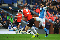 Blackburn Rovers' Danny Graham under pressure from Luton Town's Sonny Bradley<br /> <br /> Photographer Kevin Barnes/CameraSport<br /> <br /> The EFL Sky Bet Championship - Blackburn Rovers v Luton Town - Saturday 28th September 2019 - Ewood Park - Blackburn<br /> <br /> World Copyright © 2019 CameraSport. All rights reserved. 43 Linden Ave. Countesthorpe. Leicester. England. LE8 5PG - Tel: +44 (0) 116 277 4147 - admin@camerasport.com - www.camerasport.com