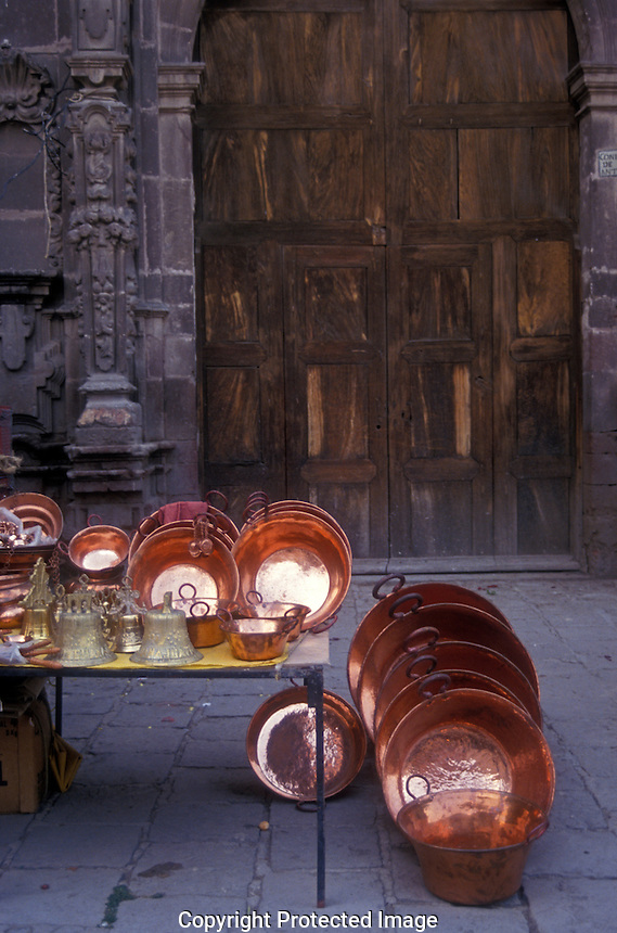 Copper ware for sale in  in San Miguel de Allende, Mexico.