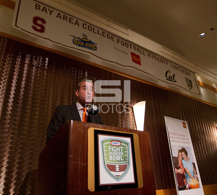Master of ceremonies Brian Murphy at the Bay Area College Football Luncheon at the Hotel Nikko in San Franciscofor Kraft Flight Hunger Bowl on July 30.2012. ( Photo by Norbert von der Groeben ) .