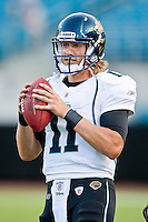August 19, 2011:  Jacksonville Jaguars quarterback Blaine Gabbert (11) warms up prior to the start of pre season action between the Jacksonville Jaguars and the Atlanta Falcons at EverBank Field in Jacksonville, Florida.   Jacksonville defeated the Falcons 15-13.........