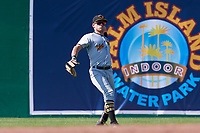 West Virginia Black Bears center fielder Travis Swaggerty (13) throws back to the infield during a game against the Batavia Muckdogs on July 1, 2018 at Dwyer Stadium in Batavia, New York.  Batavia defeated West Virginia 8-4.  (Mike Janes/Four Seam Images)