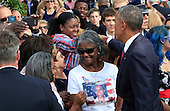 President Barack Obama shakes hands with guests at the Pentagon Memorial in Washington, DC during an observance ceremony to commemorate the 15th anniversary of the 9/11 terrorist attacks, Sunday, September 11, 2016. <br /> Credit: Dennis Brack / Pool via CNP