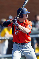 Illinois Fighting Illini first baseman Pat McInerney (27) at bat against the Michigan Wolverines during the NCAA baseball game on April 8, 2017 at Ray Fisher Stadium in Ann Arbor, Michigan. Michigan defeated Illinois 7-0. (Andrew Woolley/Four Seam Images)