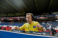 Martin Solveig DJ set<br /> Paris Saint-Germain's Brazilian forward Neymar (C), flanked by Paris Saint Germain's (PSG) Qatari president Nasser Al-Khelaifi (L), waves to the crowd during his presentation to the fans at the Parc des Princes stadium in Paris, on August 5, 2017. Brazil superstar Neymar will watch from the stands as Paris Saint-Germain open their season on August 5, 2017, but the French club have already clawed back around a million euros on their world record investment. Neymar, who signed from Barcelona for a mind-boggling 222 million euros ($264 million), is presented to the PSG support prior to his new team's first game of the Ligue 1 campaign against promoted Amiens. # LES PEOPLE AU MATCH DE FOOT PSG VS AMIENS