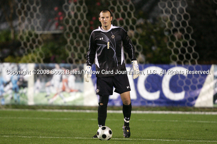 14 November 2008: Boston College's Chris Brown. The University of Maryland defeated Boston College 1-0 at WakeMed Stadium at WakeMed Soccer Park in Cary, NC in a men's ACC tournament semifinal game.