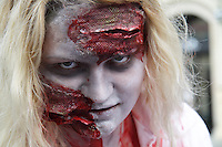 Up close headshot of a female paticipant at the prague zombi walk in may 2014.