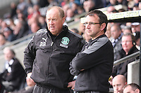 Billy Brown (left) and Pat Fenlon discuss tactics in the St Mirren v Hibernian Clydesdale Bank Scottish Premier League match played at St Mirren Park, Paisley on 29.4.12.