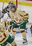 16 November 2013: University of Vermont Catamount Forward Pete Massar, a Senior from Williston, VT, waits for a pass during third period play against the Providence College Friars at Gutterson Fieldhouse in Burlington, Vermont. The Friars shut out the Catamounts to sweep the 2-game weekend Hockey East Series. Mandatory Credit: Ed Wolfstein Photo *** RAW (NEF) Image File Available ***