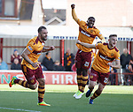 Peter Hartley celebrates his goal for Motherwell