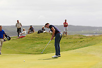 Richard Knightly (The Royal Dublin) on the 1st during the Quarter Finals of The South of Ireland in Lahinch Golf Club on Tuesday 29th July 2014.<br /> Picture:  Thos Caffrey / www.golffile.ie
