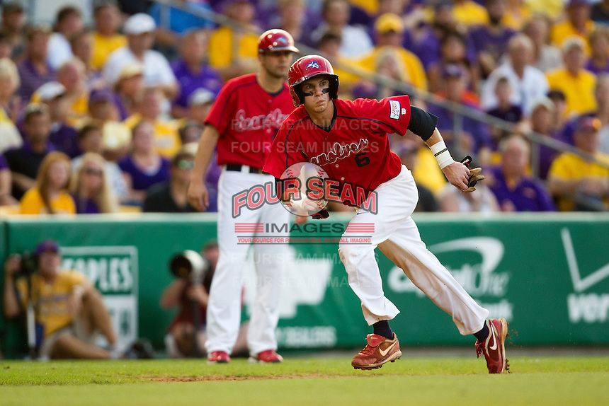 Stony Brook Seawolves outfielder Travis Jankowski #6 heads home from third base during the NCAA Super Regional baseball game against LSU on June 10, 2012 at Alex Box Stadium in Baton Rouge, Louisiana. Stony Brook defeated LSU 7-2 to advance to the College World Series. (Andrew Woolley/Four Seam Images)