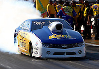 Aug. 16, 2013; Brainerd, MN, USA: NHRA pro stock driver Rodger Brogdon during qualifying for the Lucas Oil Nationals at Brainerd International Raceway. Mandatory Credit: Mark J. Rebilas-