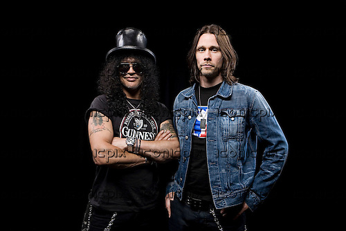 Slash and Myles Kennedy photographed in Manchester, UK - July 3, 2010.  Photo: © Ashley Maile/IconicPix  *HIGHER RATES APPLY*  *PREMIUM COLLECTION* **NO WEBSITES**