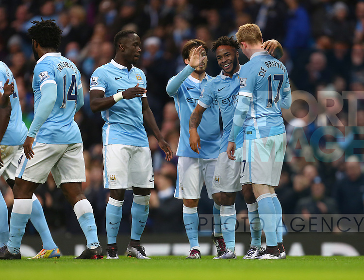 Raheem Sterling celebrates his first goal with Kevin De Bruyne of Manchester City - Manchester City vs Sunderland - Barclays Premier League - Etihad Stadium - Manchester - 26/12/2015 Pic Philip Oldham/SportImage