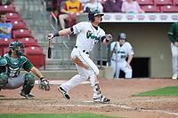 Cedar Rapids Kernels catcher Ben Rortvedt (9) swings during a game against the Beloit Snappers at Veterans Memorial Stadium on April 9, 2017 in Cedar Rapids, Iowa.  The Kernels won 6-1.  (Dennis Hubbard/Four Seam Images)